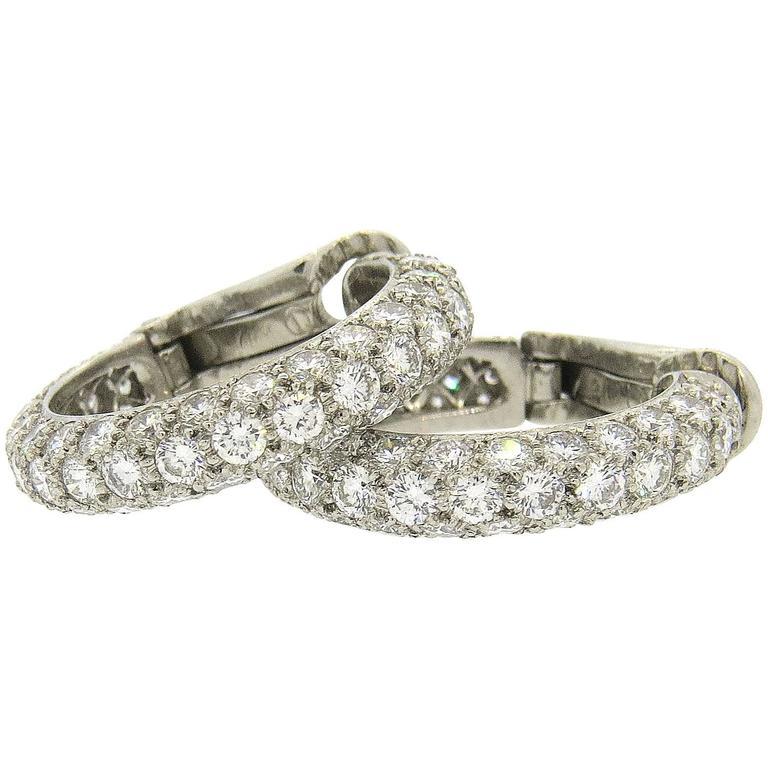 Etoile Diamond Platinum Hoop Earrings For