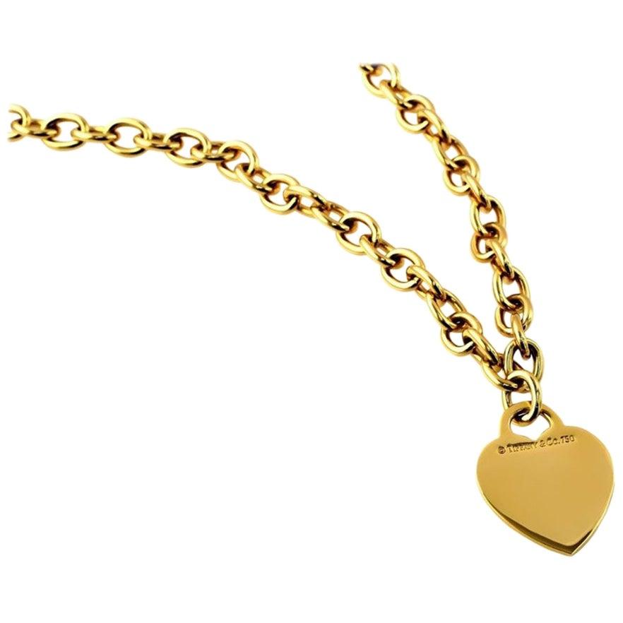 Tiffany & Co. 18 Karat Yellow Gold Heart Tag Necklace