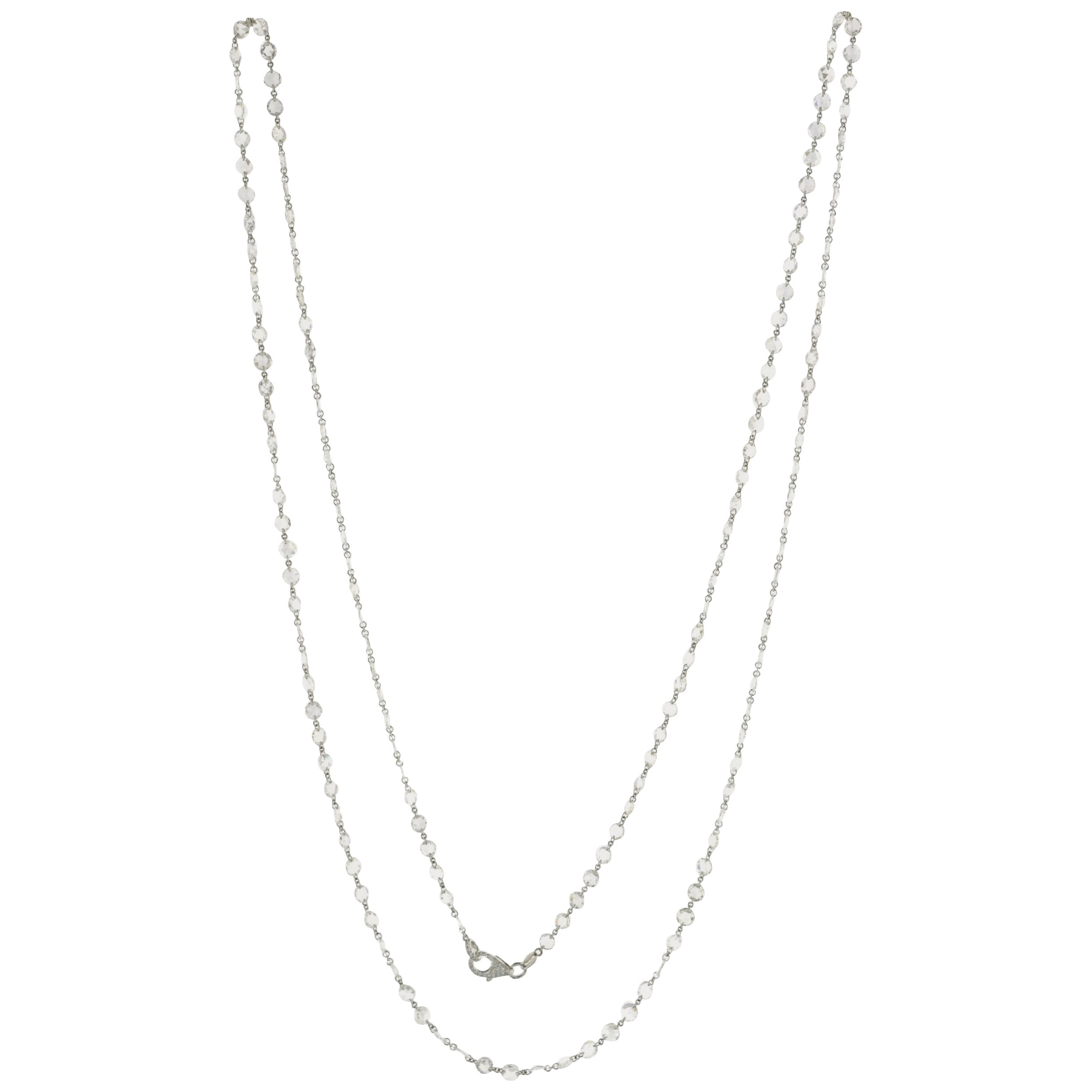 JR 20.78 Carat Rose Cut Diamond 18 Karat White Gold Necklace
