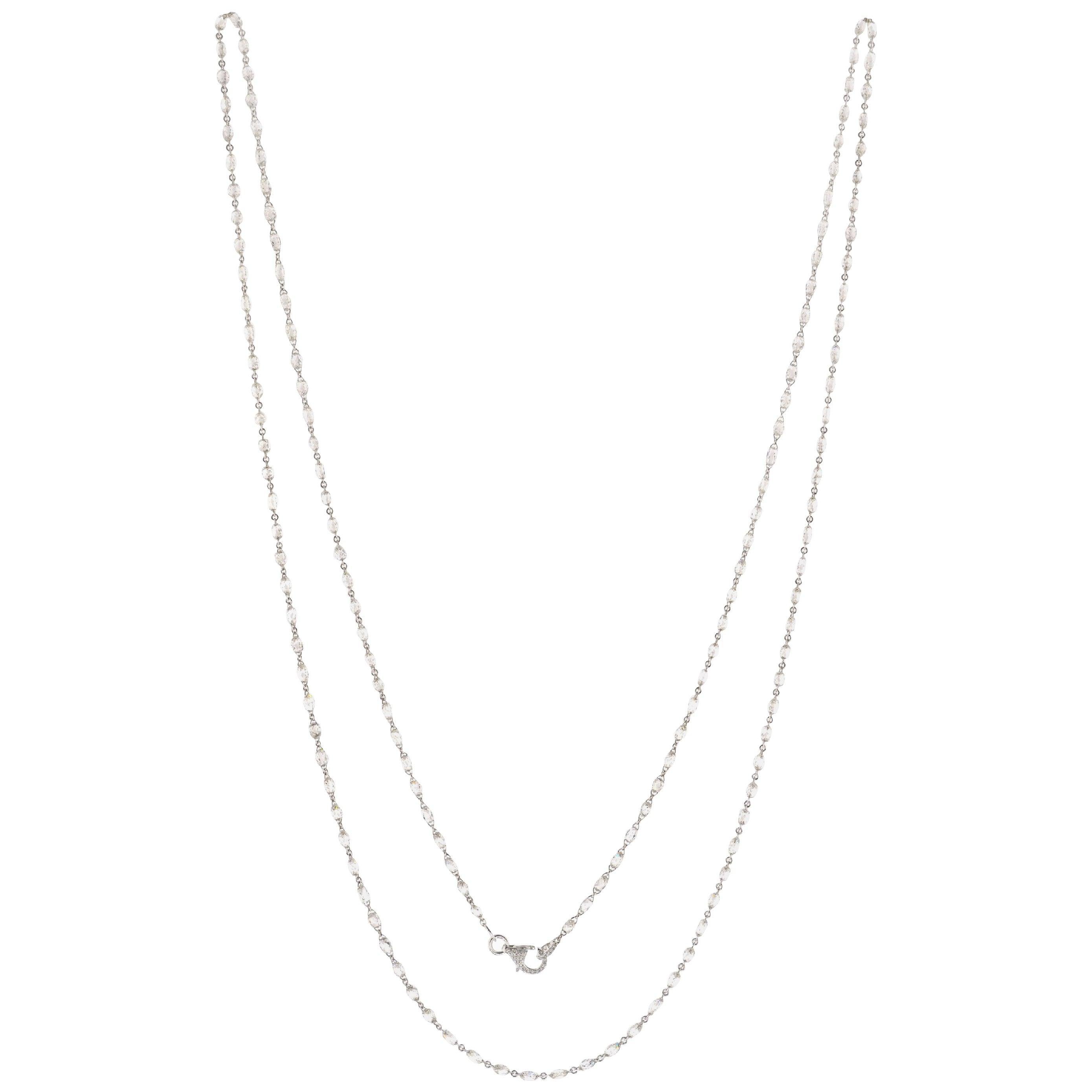 JR 27.51 Carat White Diamond Briolette Necklace 18 Karat White Gold