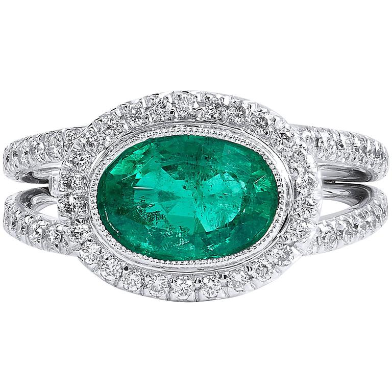 1.84 Carat Zambian Emerald Diamond Palladium Cocktail Ring