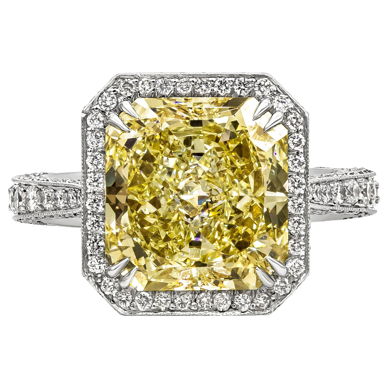GIA Certified 5 Carat Radiant Cut Yellow Diamond Vintage Halo Engagement Ring
