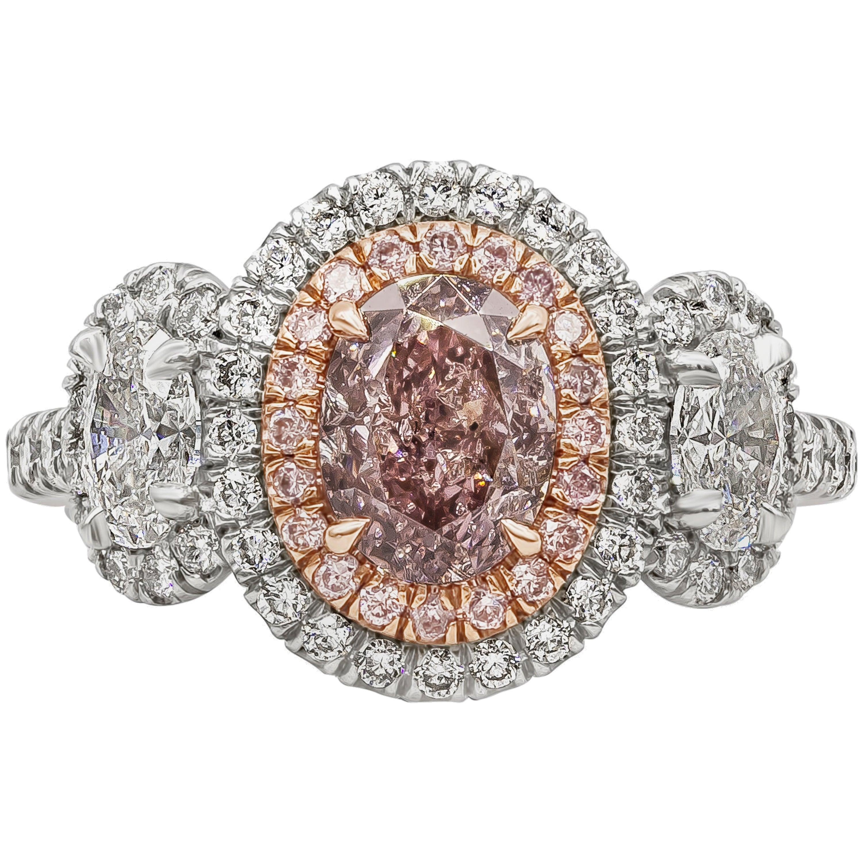 GIA Certified 1 Carat Oval Intense Pink Diamond Three-Stone Halo Engagement Ring