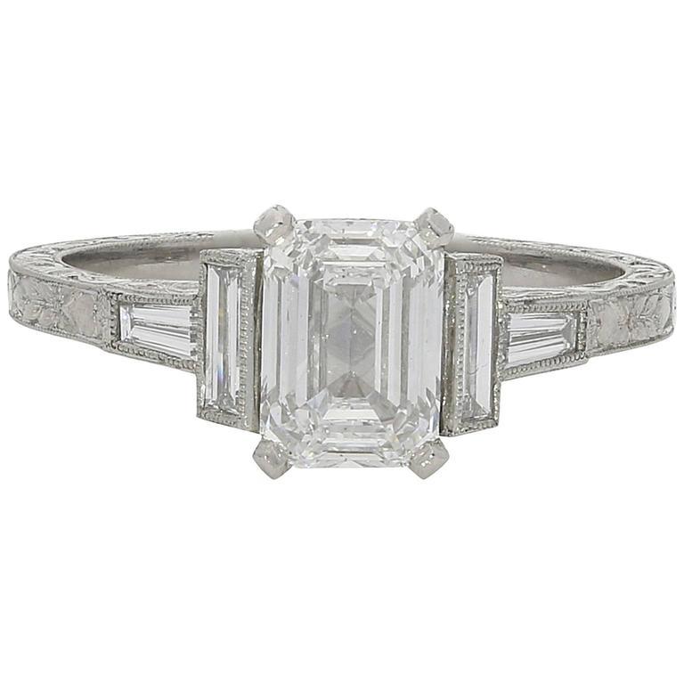 1.21ct D VS2 Emerald Cut Diamond Ring With Diamond Baguette Accents 1