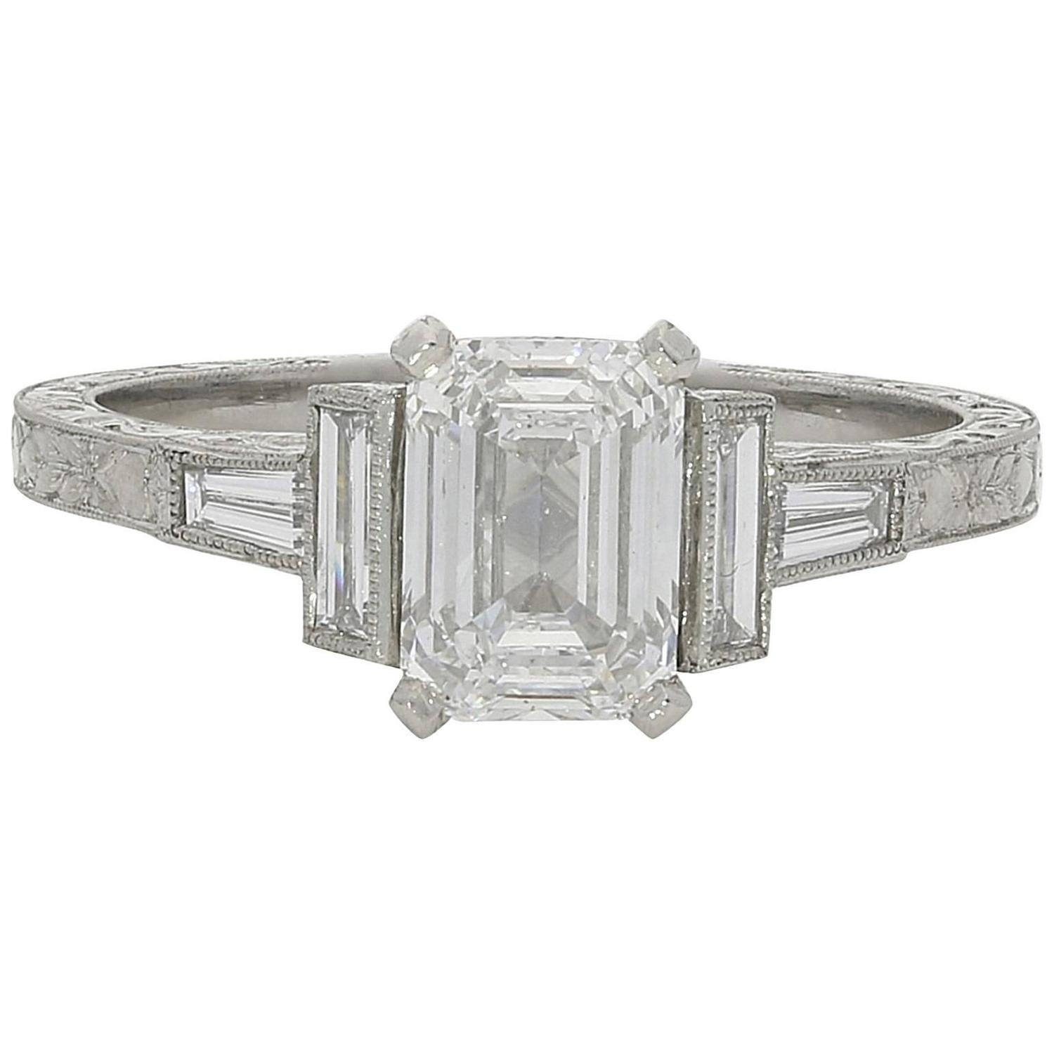 1 21ct D VS2 Emerald Cut Diamond Ring With Diamond Baguette Accents at 1stdibs