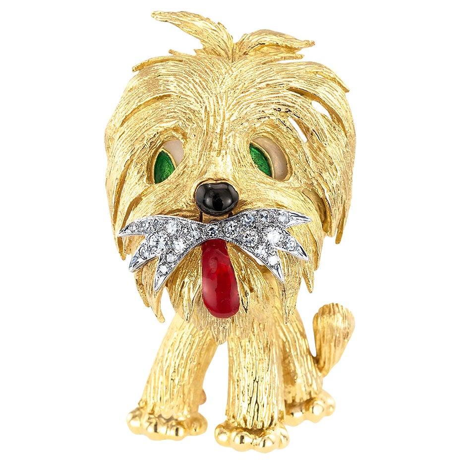 Shaggy Dog Diamond Enamel Yellow Gold Clip Brooch