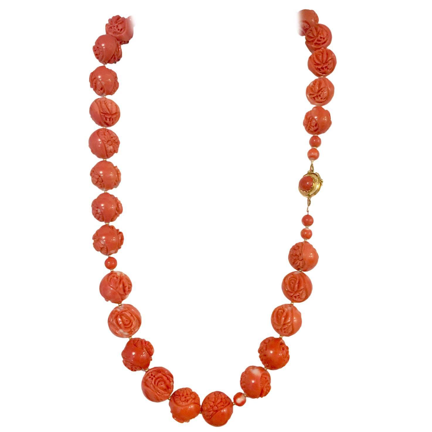 magnificent carved momo coral gold bead necklace at 1stdibs