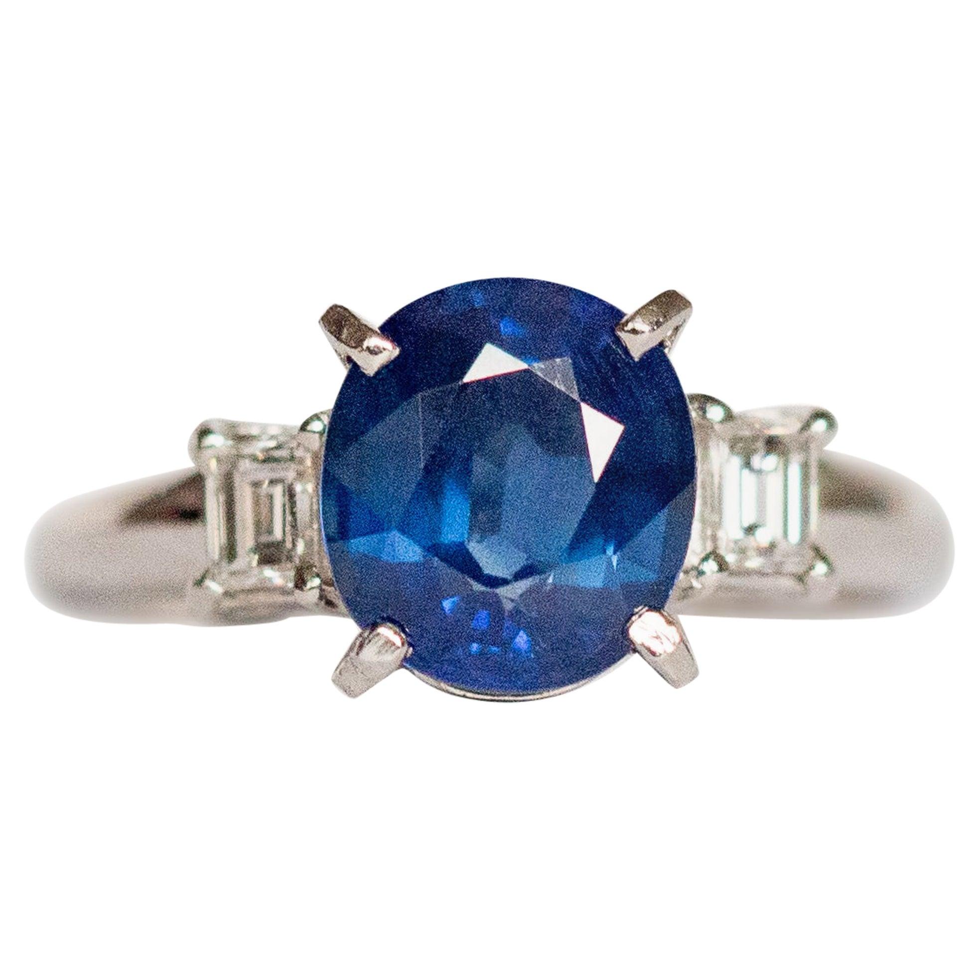 2.50 Carat Sapphire Platinum Engagement Ring