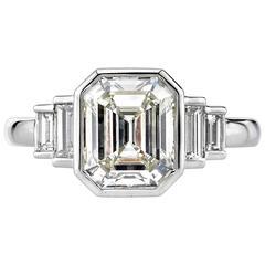 2.31 Carat Emerald cut Diamond platinum Engagement Ring