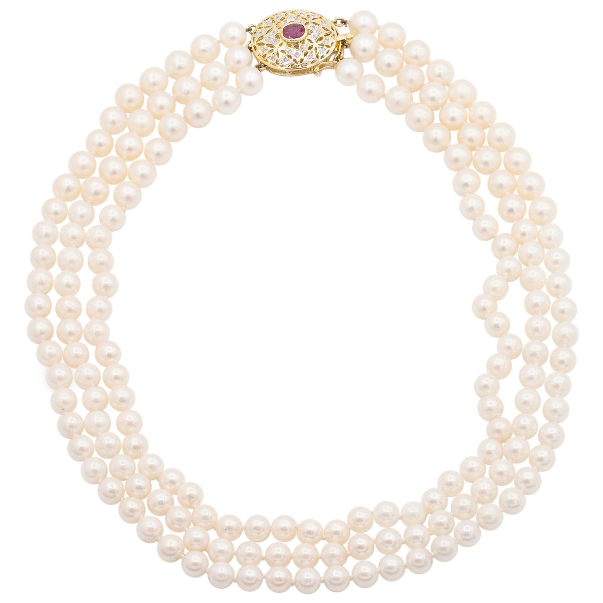 14 Karat Yellow Gold 3 Strand Cultured Akoya Pearl Necklace