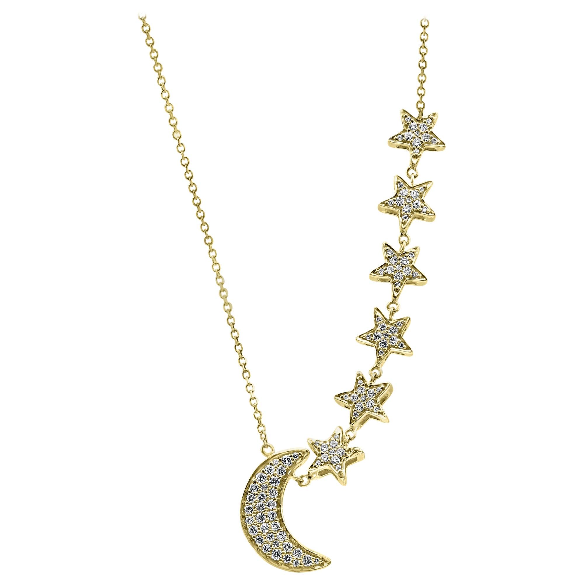 White Round Diamond Yellow Gold Fashion Drop Chain Necklace