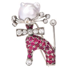 Nardi Vintage Ruby Diamond Gold Cat Lapel Brooch
