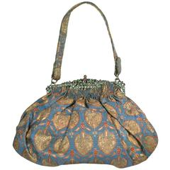 Art Deco Precious Stone Jewelled Lame Evening Bag