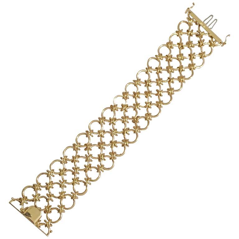 Gold Three Row Circle Bracelet