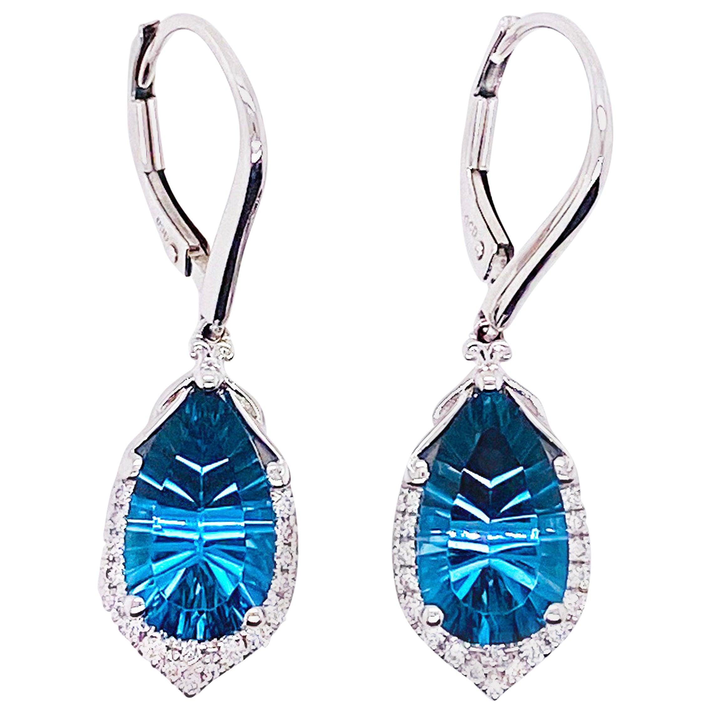 6 Carat London Blue Topaz & Diamond Earring Dangles 14 Karat Gold Topaz Earring