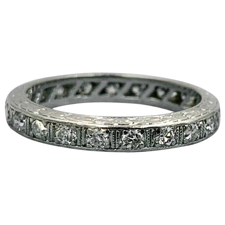 Art Deco Diamond Platinum Eternity Band Ring Wedding Engagement