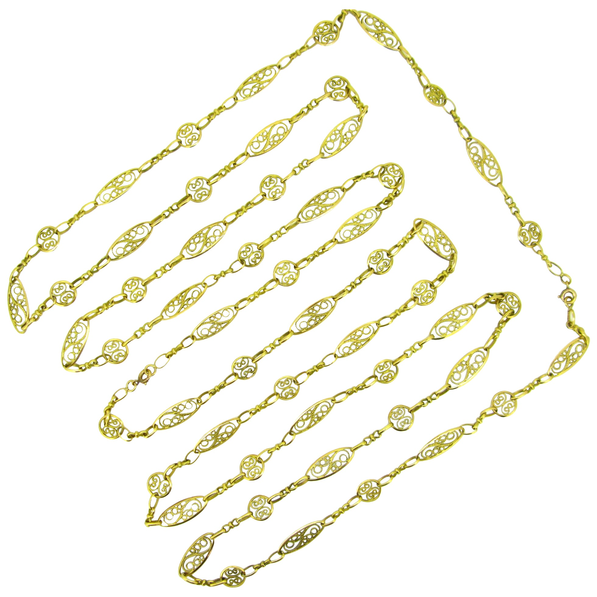 Antique Victorian Yellow Gold Long Chain Necklace