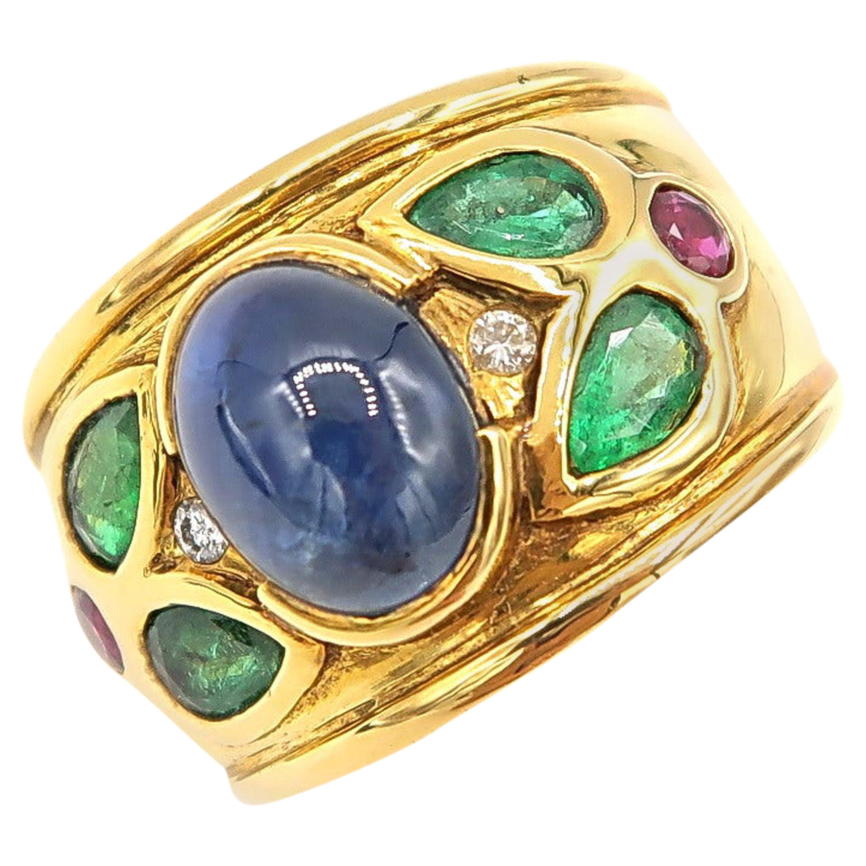 3.48 Carat Cabochon Sapphire 18 Karat Gold Ring with Diamond, Emerald, Rubies