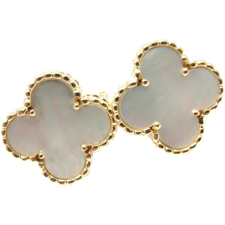 Van Cleef & Arpels Vintage Alhambra Mother Of Pearl Gold Earrings 1