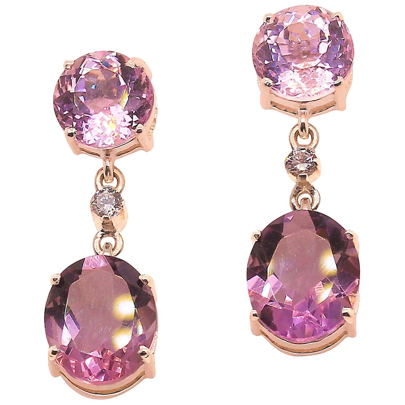 Elegant Earrings of Scintillating Kunzite & Amethyst
