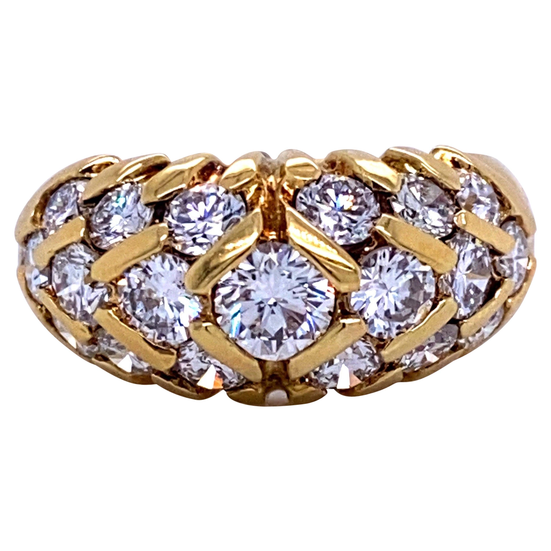 18 Karat Yellow Gold Three-Row Diamond Dome Ring 2.09 Carat
