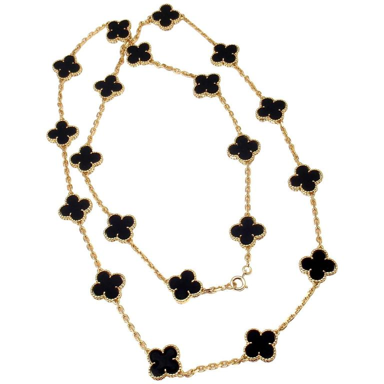 4a5bb8e6f85b Van Cleef and Arpels 20 motif Onyx gold Vintage Alhambra Necklace at ...