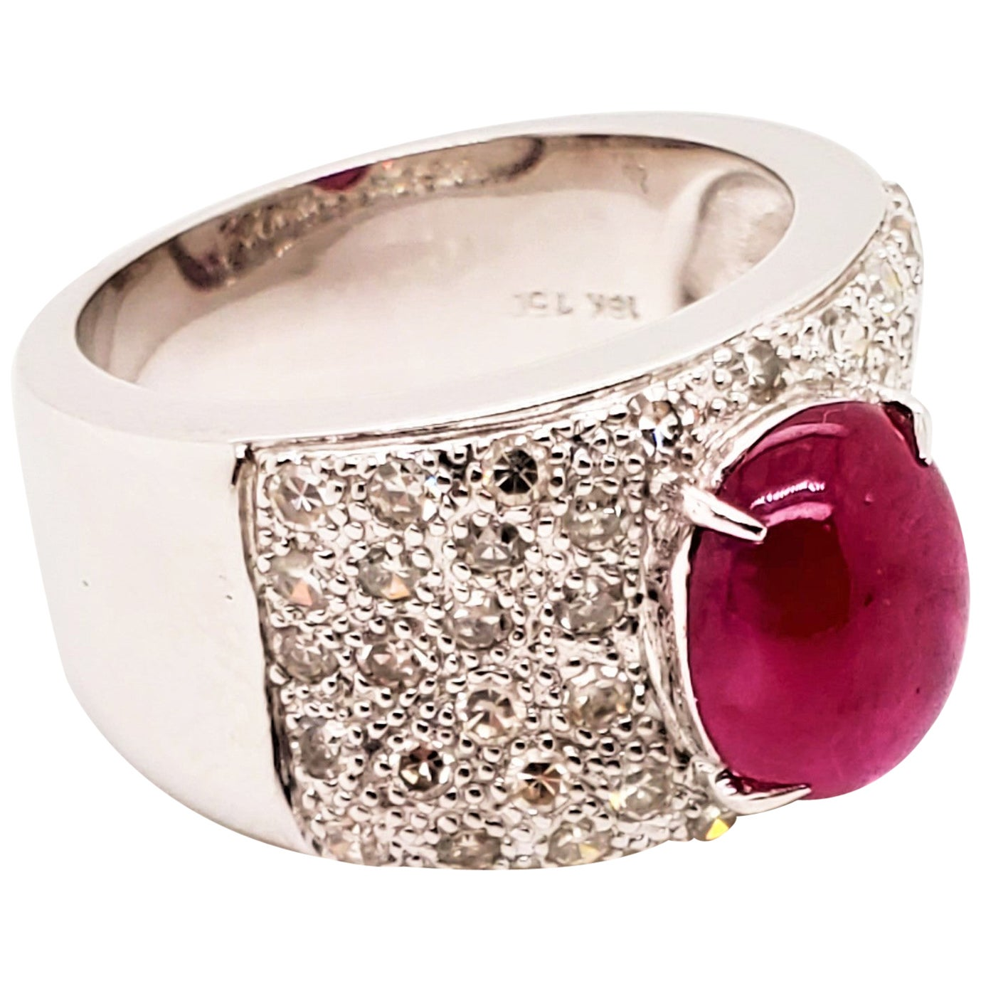2.53 Carat Ruby Cabochon and Diamond White Gold Engagement Ring