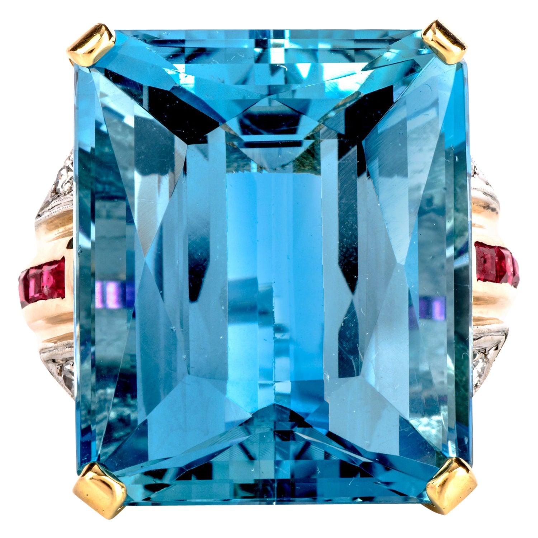 1950s Retro Very Fine Aquamarine Diamond Ruby Cocktail Gold Ring