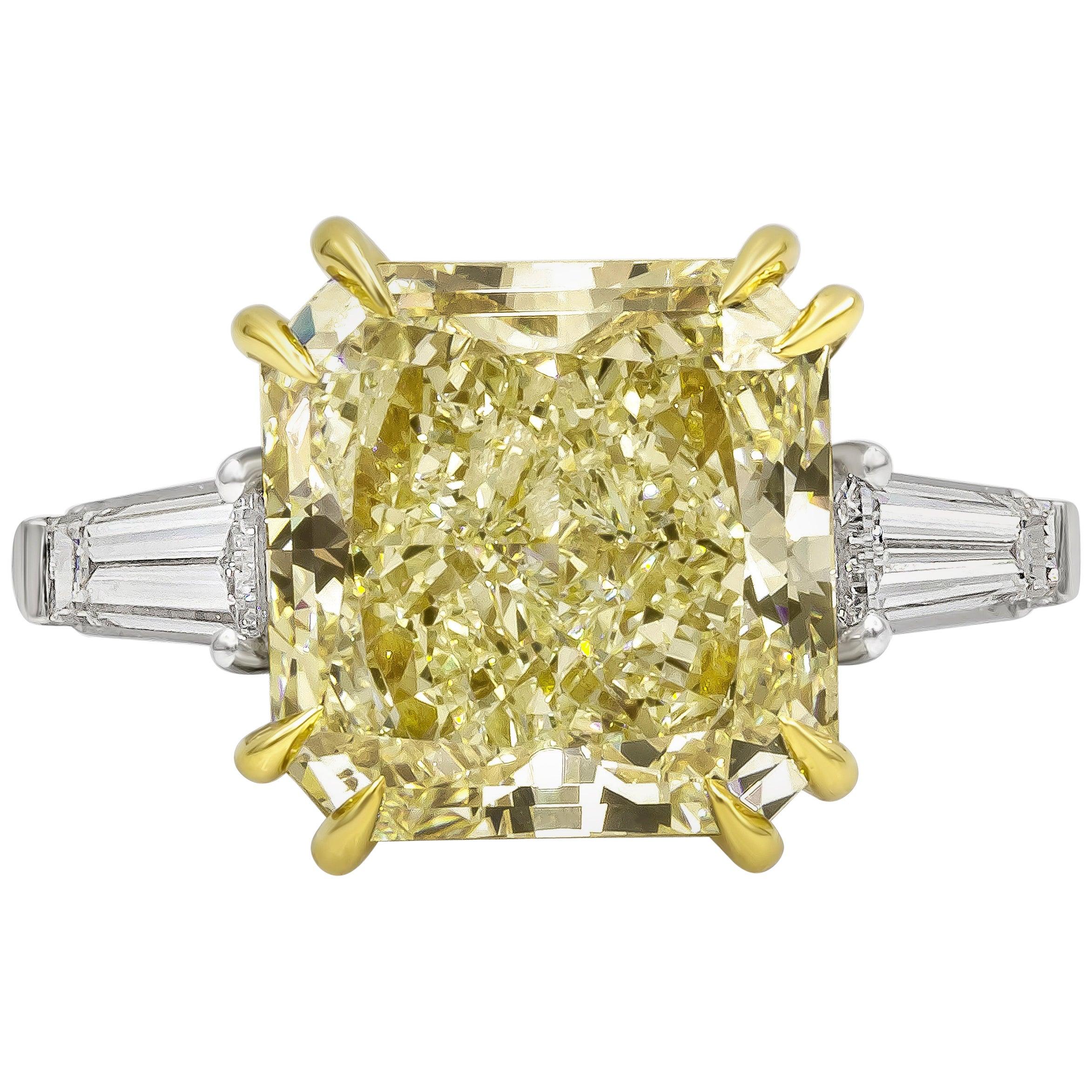 GIA Certified 10 Carat Radiant Cut Yellow Diamond Three-Stone Engagement Ring