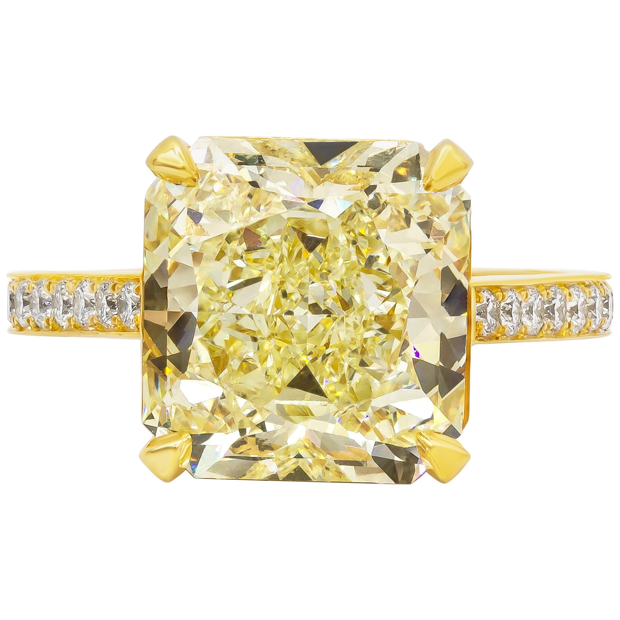 GIA Certified 8.07 Carat Radiant Cut Yellow Diamond Engagement Ring