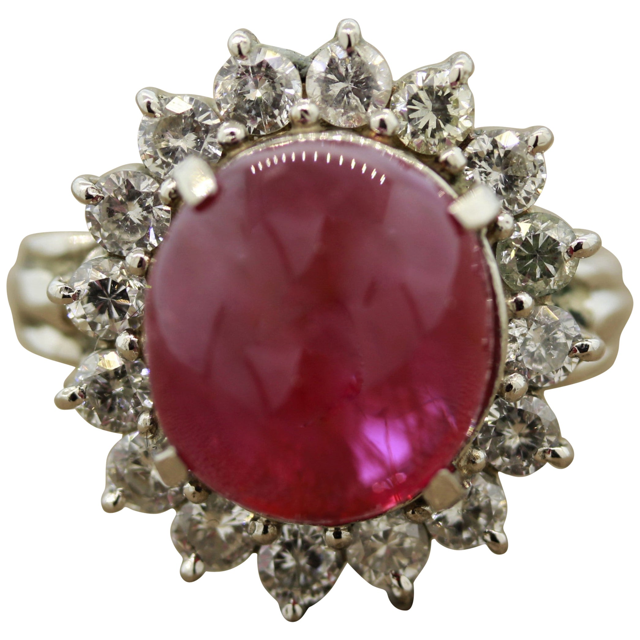 10.30 Carat Ruby Cabochon Diamond Platinum Ring, GIA Certified No-Heat
