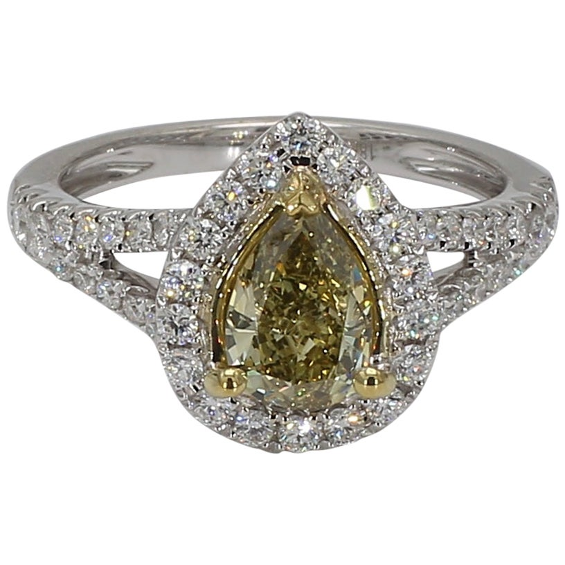 GIA Certified 0.82 Carat Fancy Deep Brownish Greenish Yellow Pear Shape Ring