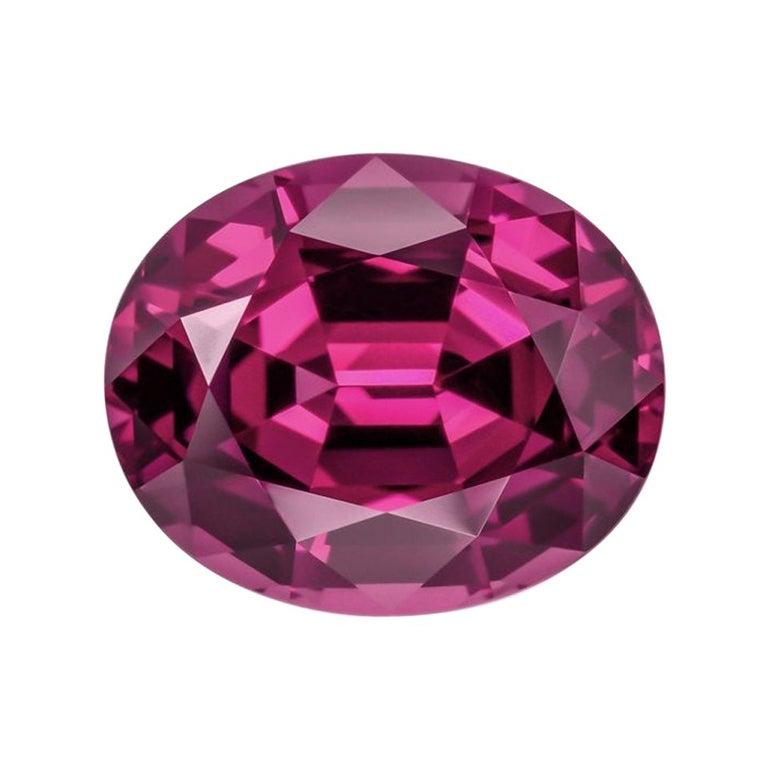 Rhodolite Garnet Ring Gem 6.11 Carat Oval Loose Gemstone