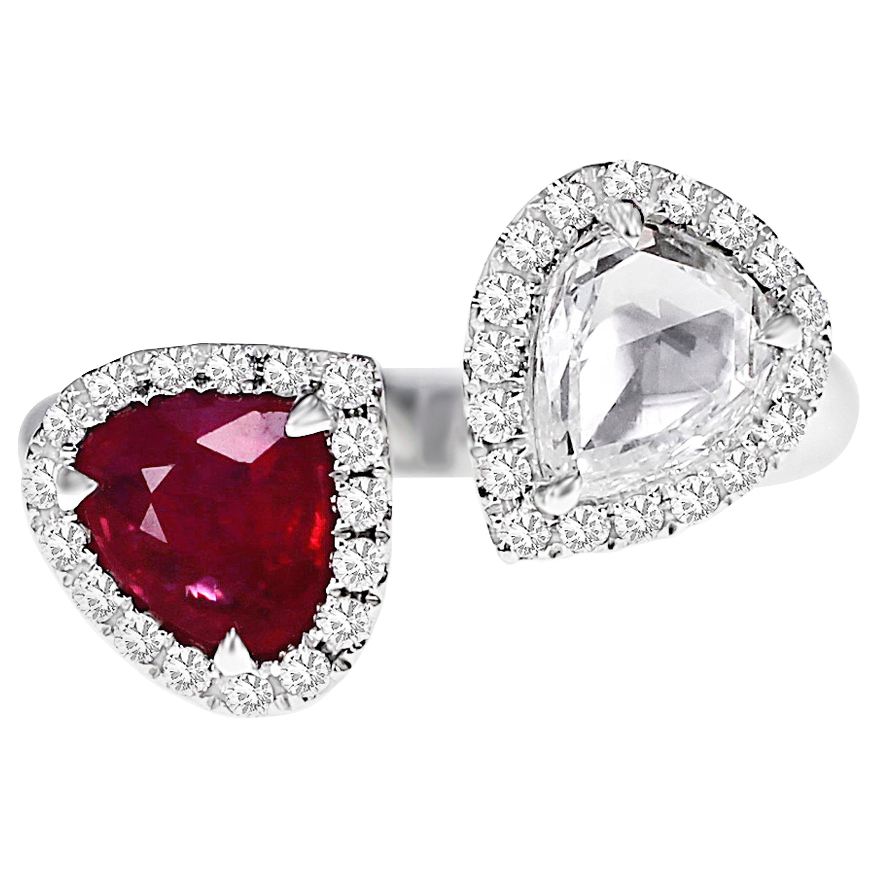 1.03 Carat Vivid Red Ruby and 1 Carat Diamond Twin Ring
