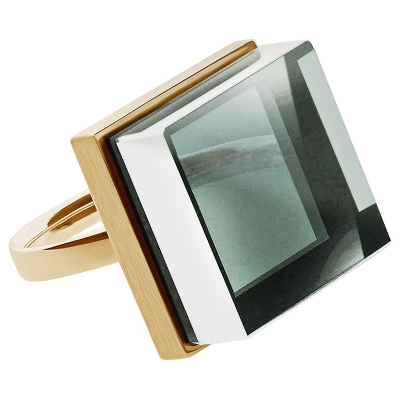 Yellow Gold Art Deco Style Ring with Natural Green Amethyst