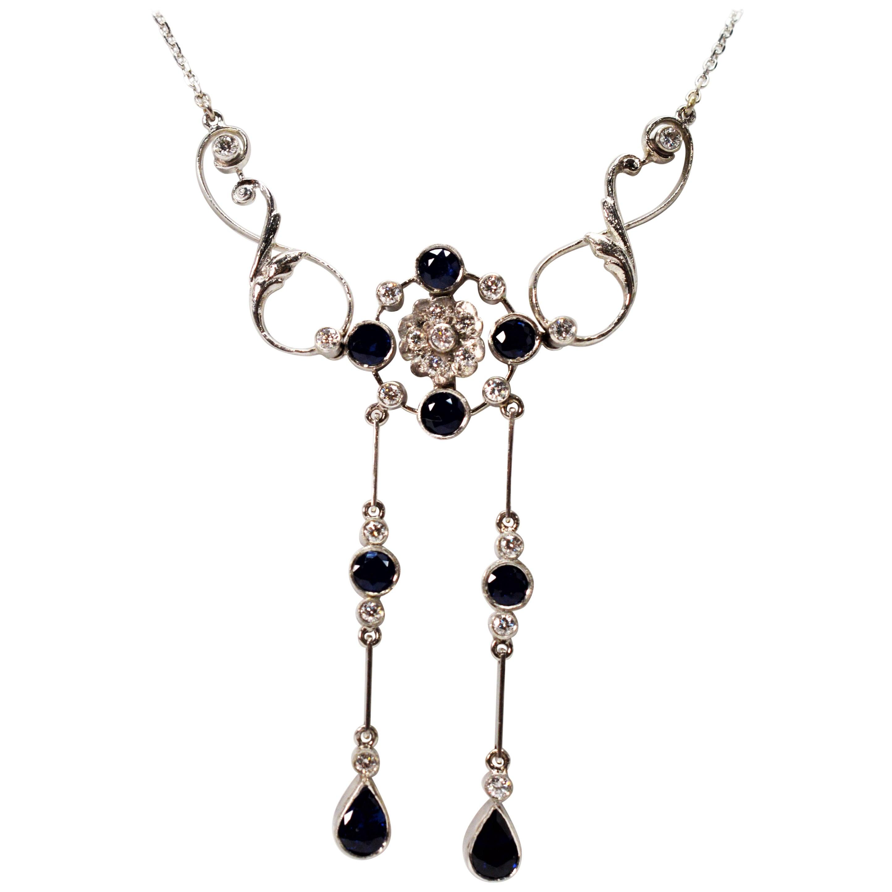 Blue Sapphire Diamond White Gold Drop Pendant Necklace