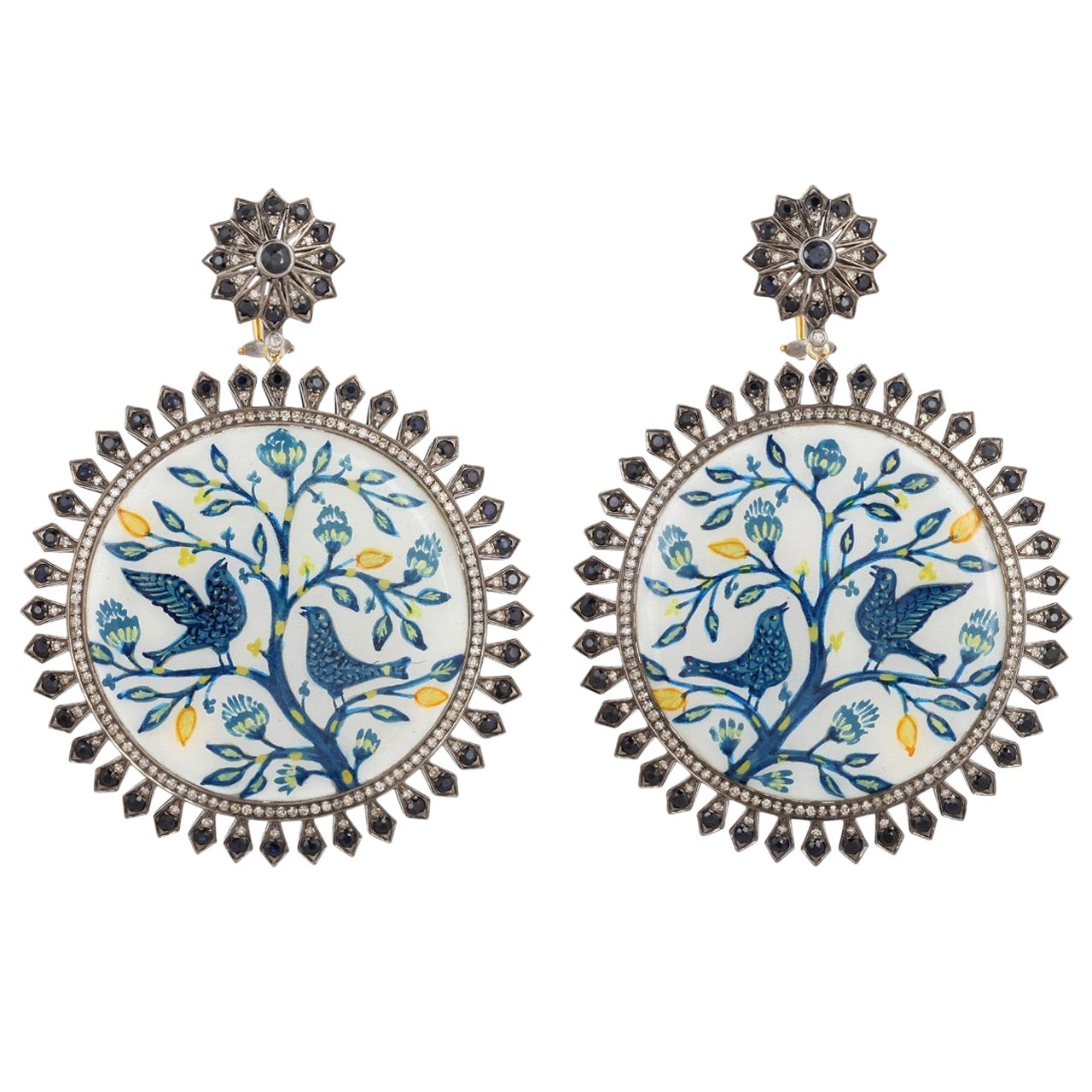Enamel Hand Painted Blue Sapphire Diamond Earrings