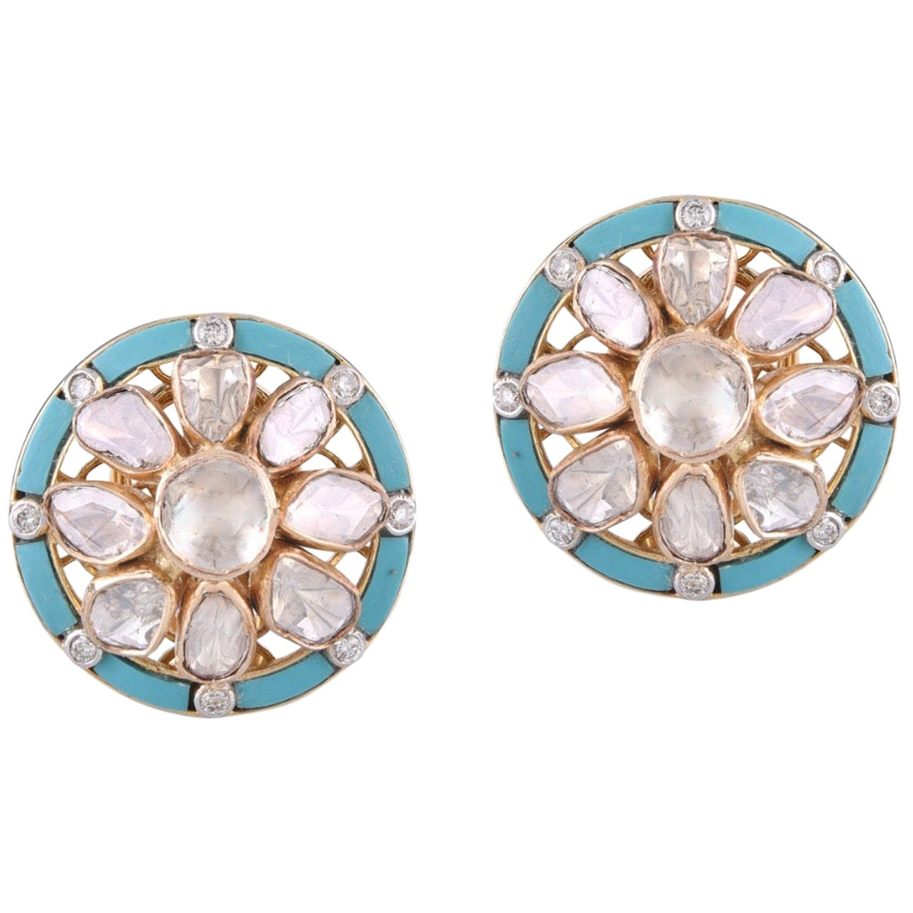 18 Karat Gold Turquoise Uncut White Diamond Stud Earring