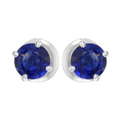 1.54 Carat Blue Sapphire Round 14K White Gold Screw Back Stud Earrings