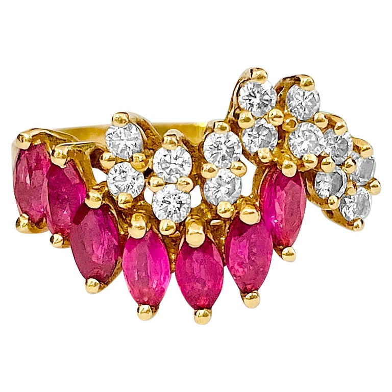 Vintage 0.75 Carat Ruby and Diamond Cocktail Ring