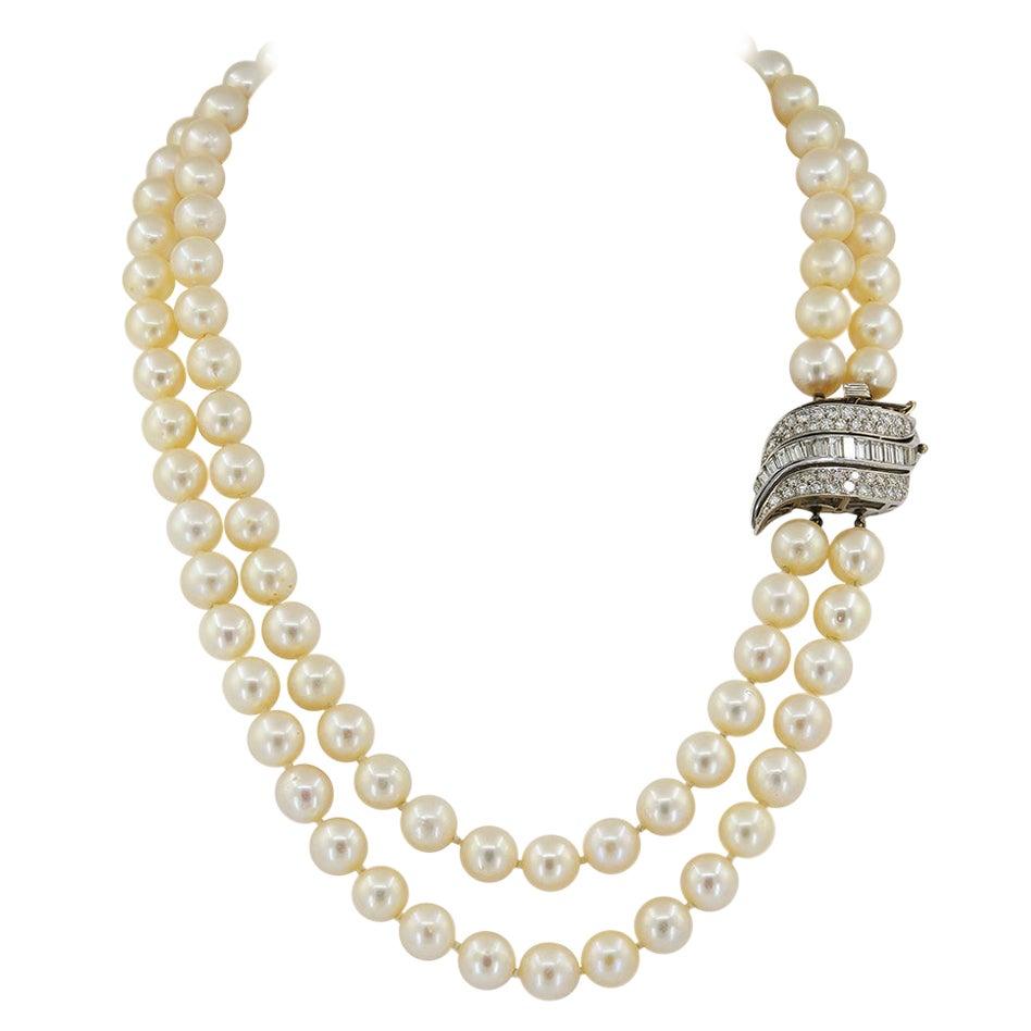 Double Strand Diamond Pearl White Gold Rivière Necklace