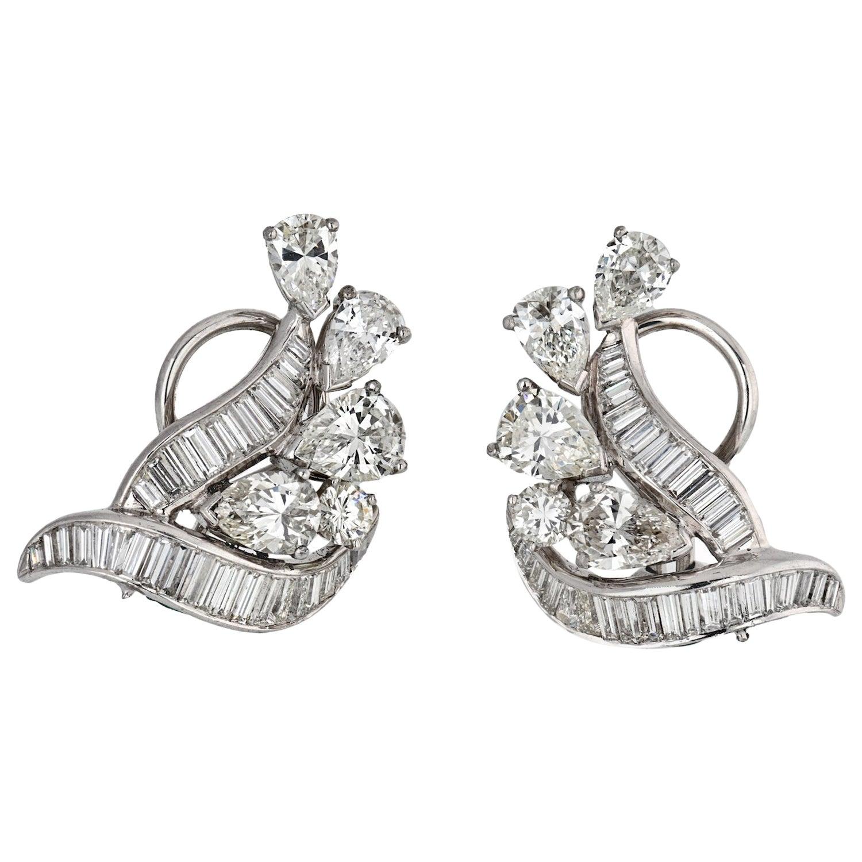 Platinum 1950s Diamond Clip-On Earrings 6.50 Carat