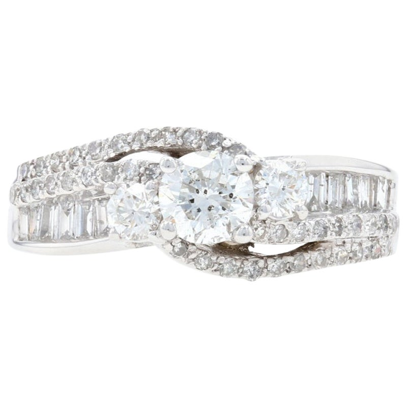 White Gold Diamond Three-Stone Bypass Ring, 14 Karat Round Cut 1.22 Carat