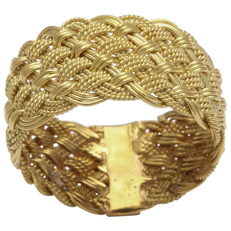 Hand Woven Italian Gold Band Ring