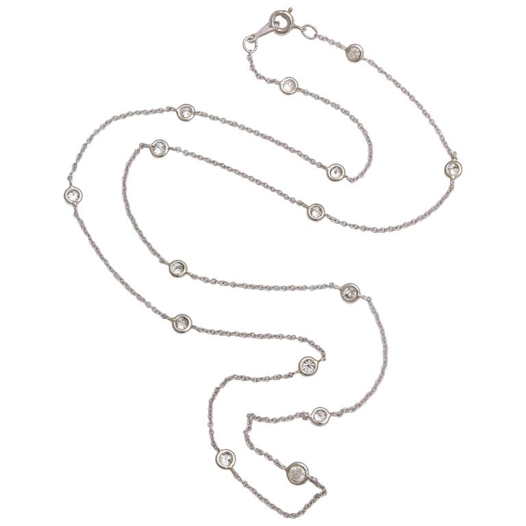 Classical Diamond by the Yard Platinum Chain Necklace For Sale