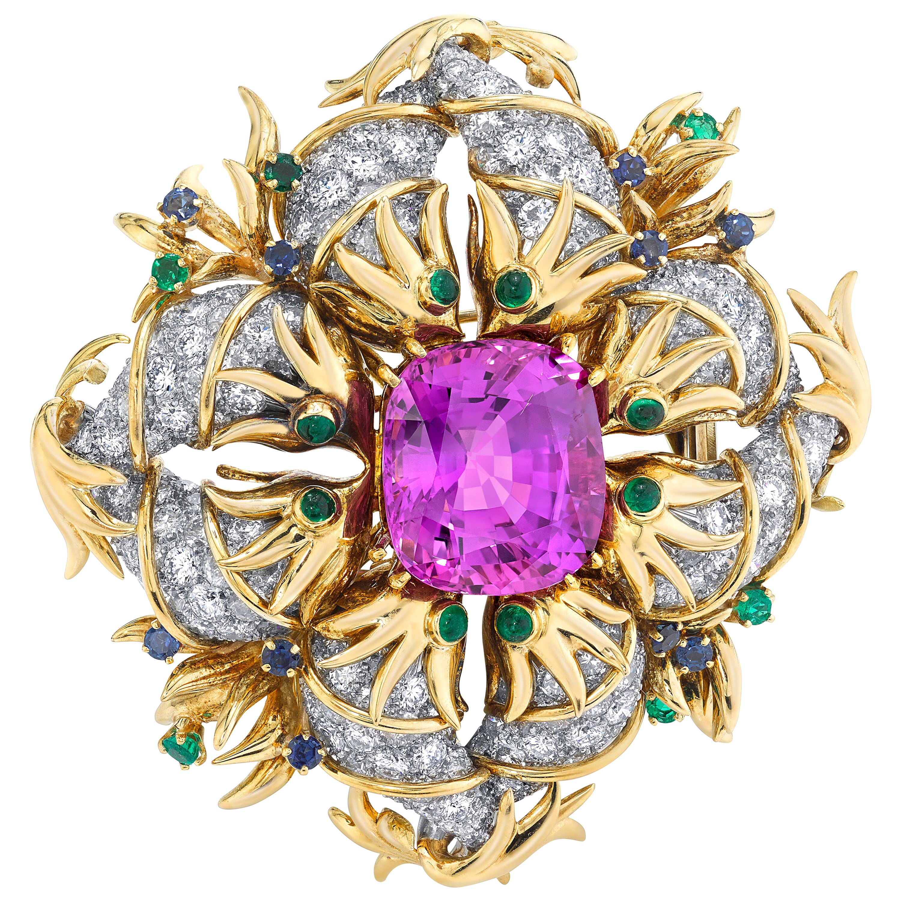 Tiffany & Co. by Sonia Younis, 21.49 Carat Pink Sapphire 18k and Platinum Brooch