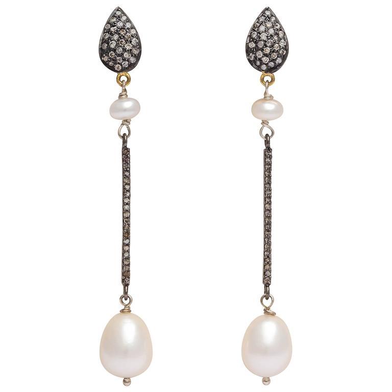 Long Elegant Pearl and Diamond Earrings