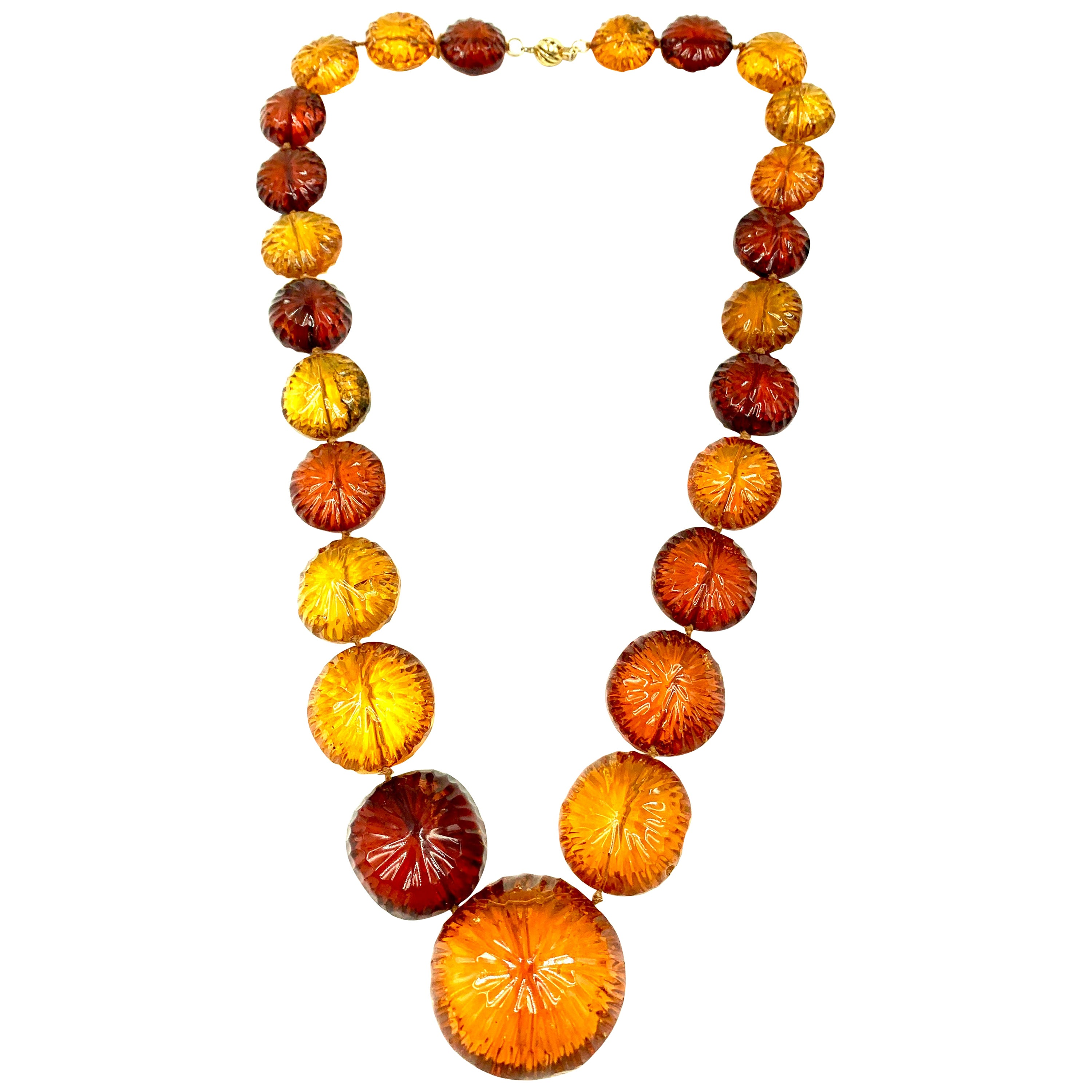 Antique Large Carved Amber Sun Disk Necklace, 18th-19th Century