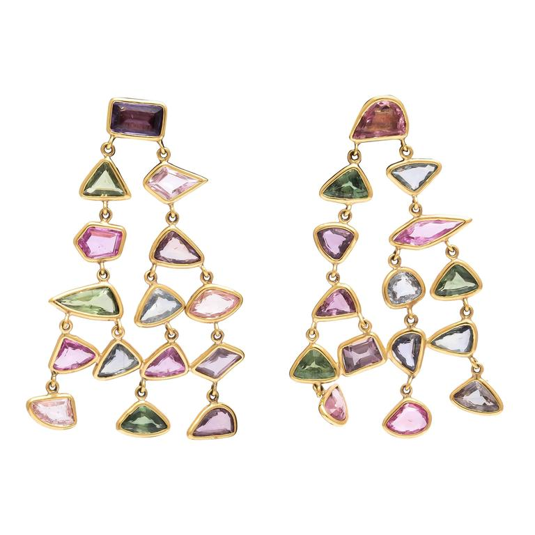Fancy Color and Shape Sapphire and Gold Chandelier Earrings