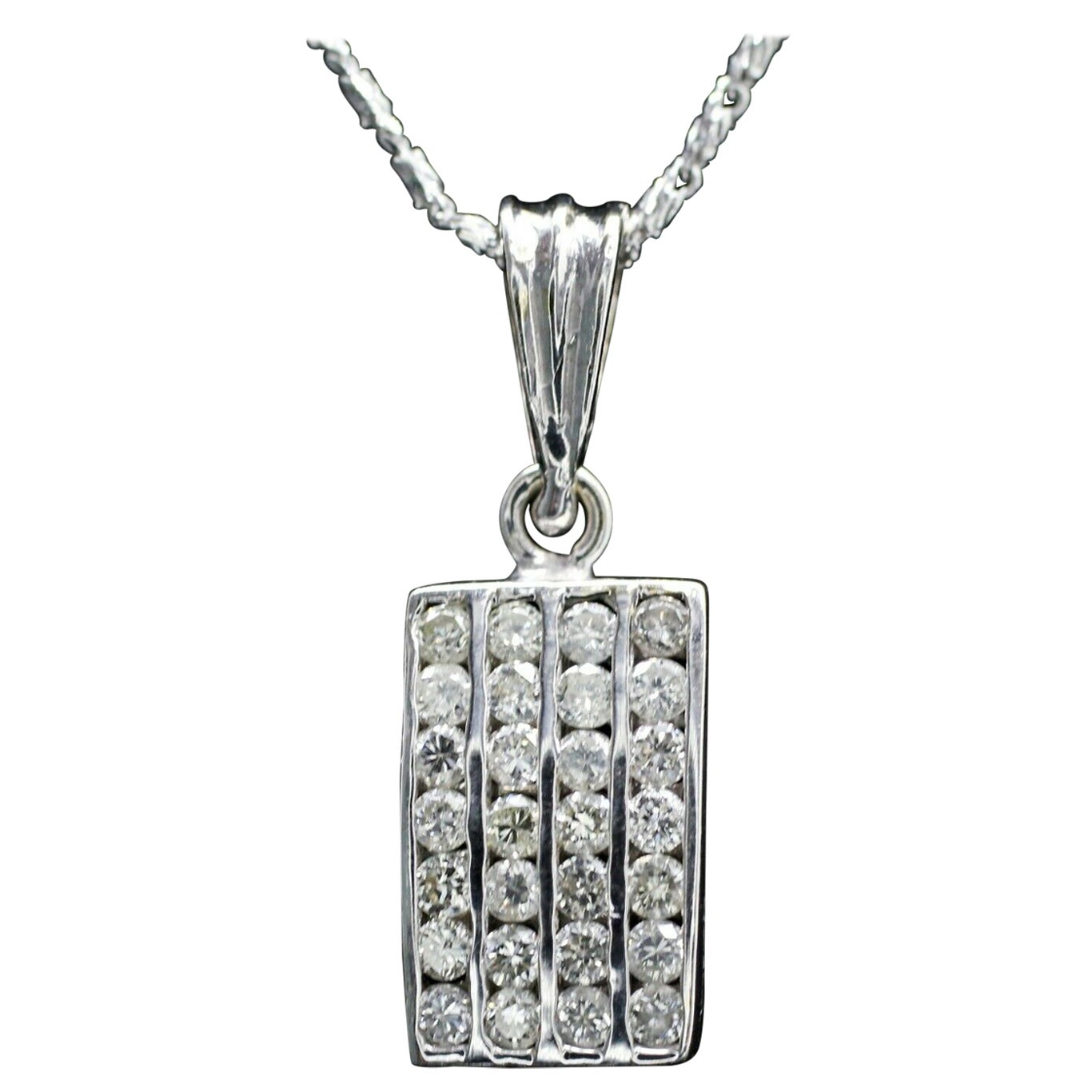 18 Karat White Gold Rectangular Diamond Pendant